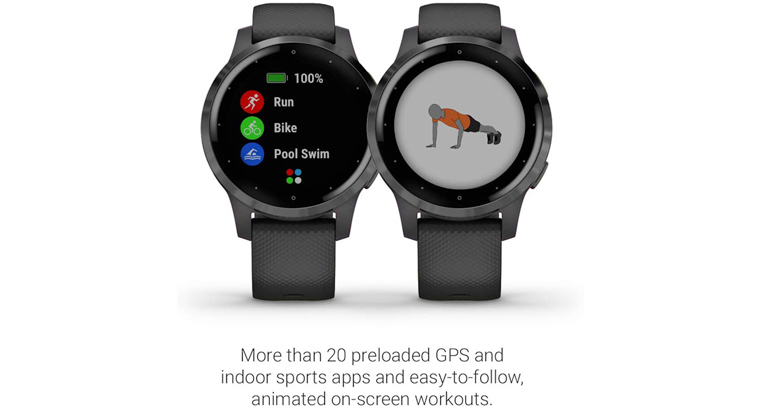 Garmin Vivoactive 4, GPS Smartwatch, Features Music, Body Energy Monitoring, Animated Workouts, Puls
